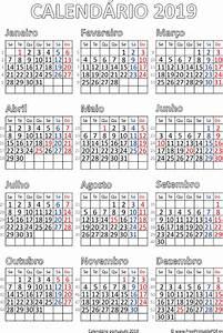 Calendário 2019 Portugal para impressão PDF para
