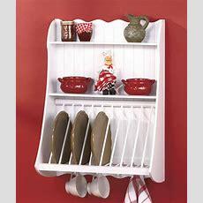 Country Kitchen Wood Wall Shelf Plate Storage Organizer