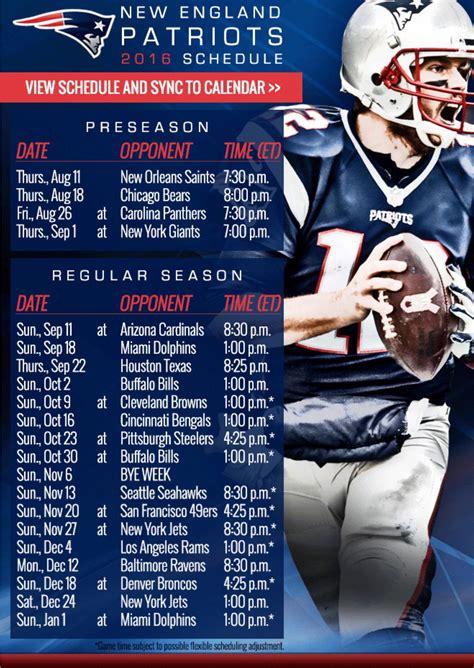 england patriots   schedule whos ready
