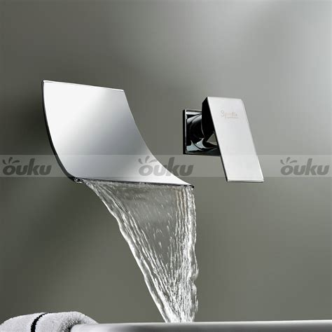 2015 contemporary wall mounted waterfall widespread bathroom chrome sink faucet ebay