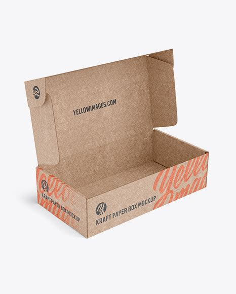 Really excited to share very fine quality and well designed gift box packaging mockup perfect for branding. Free Opened Kraft Paper Box Mockup - Half Side View (PSD)