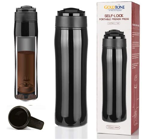 Bodum travel press coffee maker. GoldTone Brand Portable French Press Vacuum Insulated Travel Mug - Double Walled French Press ...
