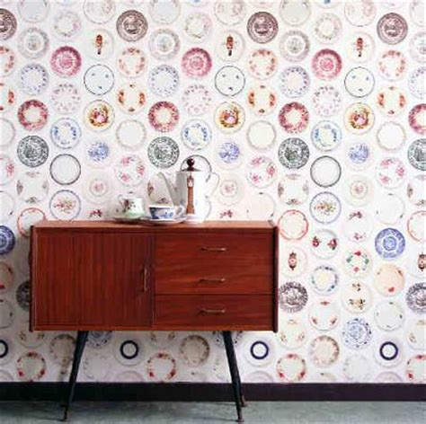 wallpaper design for wall vintage plate wallpaper by studio ditte retro to go 6970