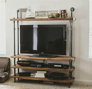 Meuble Tv Bois Et Fer : le meuble t l en 50 photos des id es inspirantes ~ Teatrodelosmanantiales.com Idées de Décoration