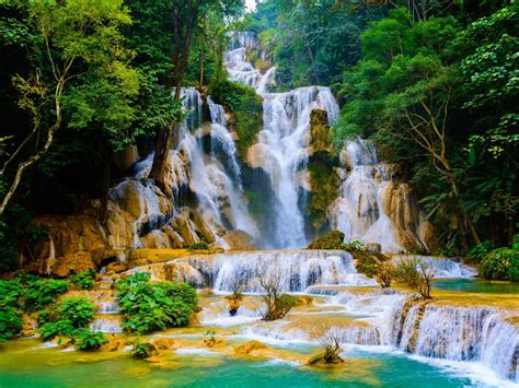 Kuang Si Falls Cascading Waterfall In Laos Known As Wat ...