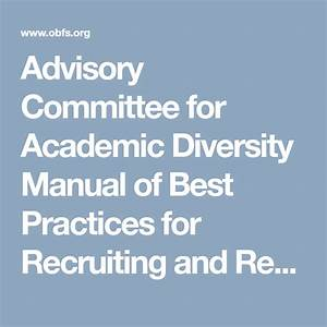 Advisory Committee For Academic Diversity Manual Of Best