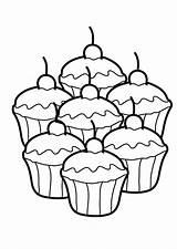 Cupcake Coloring Seven Delicious Netart sketch template