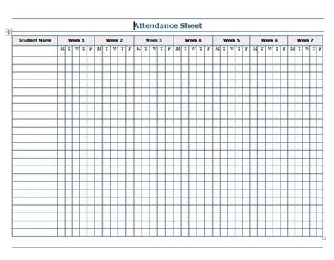 microsoft word templates attendance sheet template