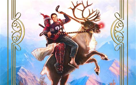 wallpaper deadpool  superhero deer christmas
