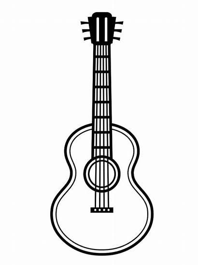 Guitar Acoustic Gitaar Akoestische Kleurplaat Colouring Gitara