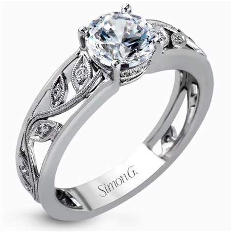 simon g filligree engagement ring with scrollwork vine design