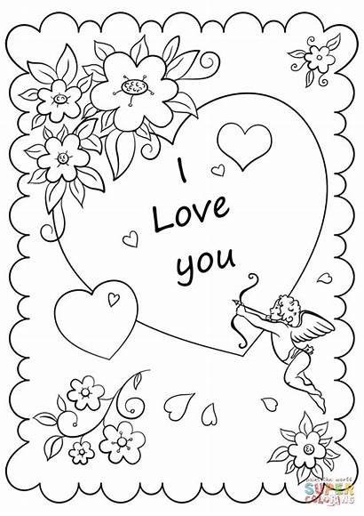 Coloring Printable Card Pages Valentine Valentines Drawing