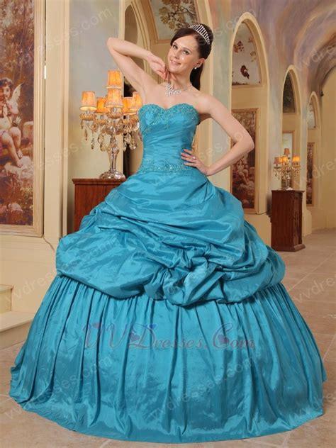 teal blue designer puffy quinceanera dress   winter