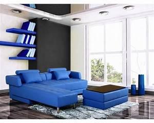 Canapé Angle Convertible Bleu : canap d 39 angle en cuir bleu r versible et convertible largo ~ Melissatoandfro.com Idées de Décoration