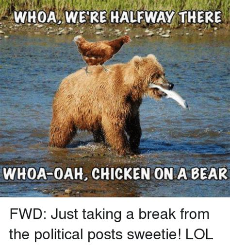 Halfway There Meme - whoa were halfway there whoa oah chicken on a bear fwd just taking a break from the political