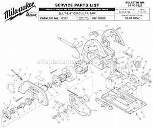 Milwaukee 6367 Parts List And Diagram