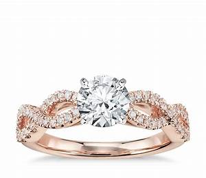 infinity twist micropave diamond engagement ring in 14k With wedding ring rose gold diamond