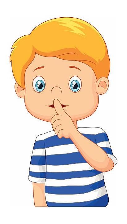 Quiet Mouth Clipart Finger Kind Cartoon Boy