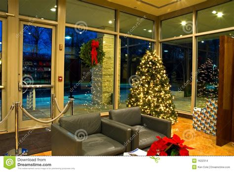 christmas tree  office lobby  stock images image