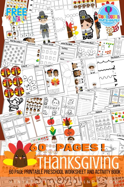 preschool thanksgiving free printable 60 page preschool and kindergarten 633