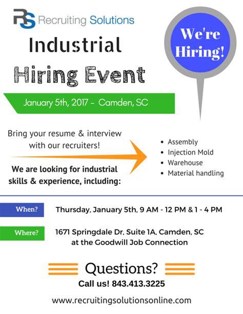 light industrial job opportunities light industrial hiring event january 5th 2017