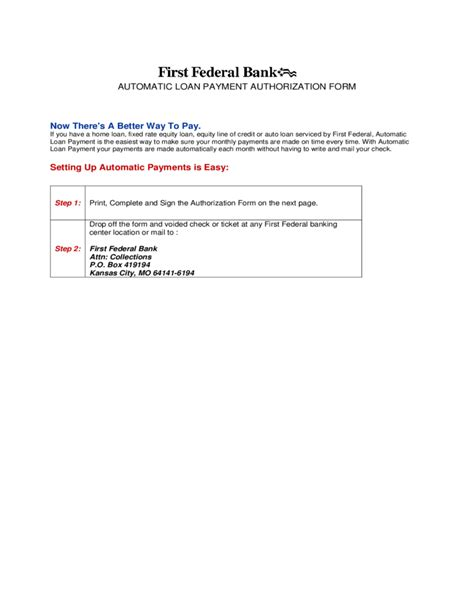 automatic loan payment authorization form