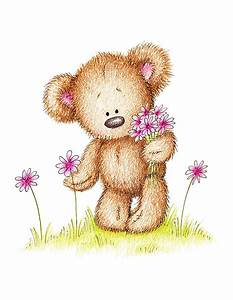 Teddy Bear With Pink Flowers Canvas Print / Canvas Art by ...