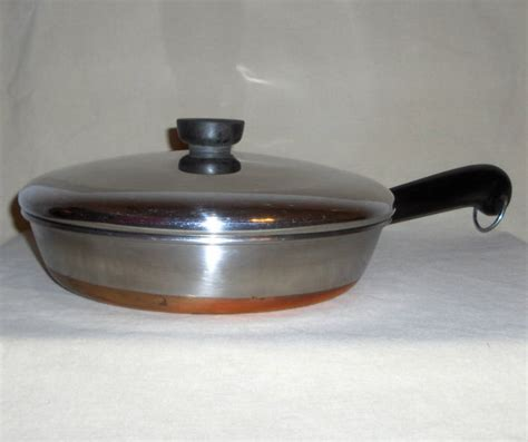 revere ware  copper clad stainless steel   skillet fry pan  lid cookware