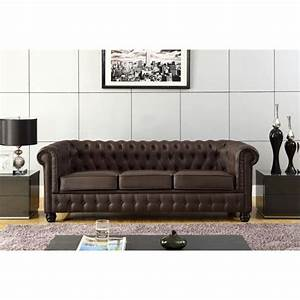 chesterfield canape en cuir et simili 3 places 213x88x75 With vente de canapé en cuir