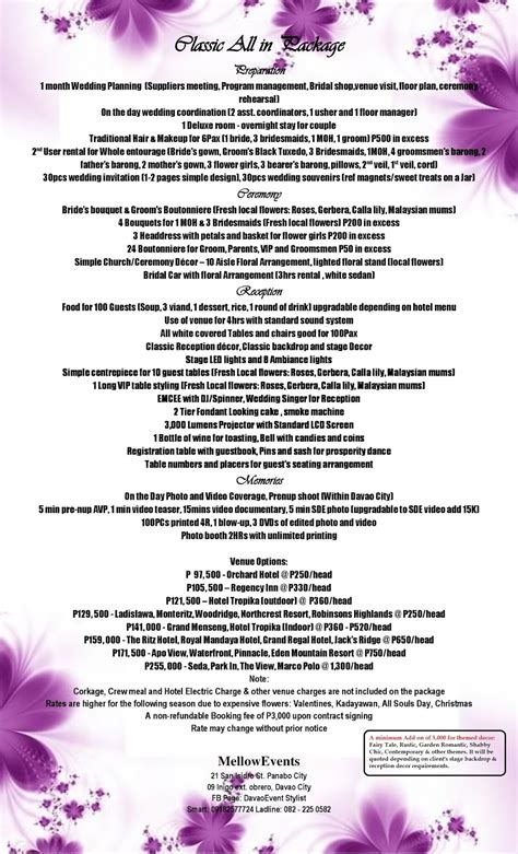 complete wedding package mellow flowers