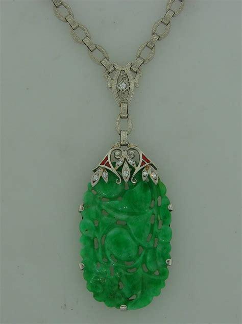 deco enamel jewelry deco carved jade enamel platinum necklace pendant at 1stdibs