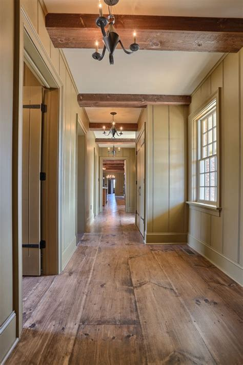 wide plank wood flooring interior hallway classic