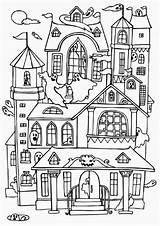 Coloring Haunted Ghost Houses Many Pages Colouring Halloween Print Sheets Colorluna Spooky Printable sketch template