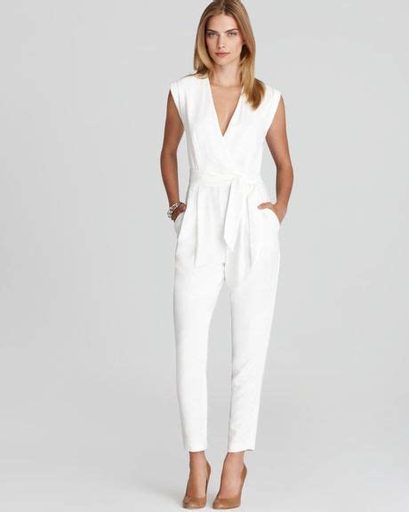 white jumpsuits for theory provence crepe jumpsuit in white lyst