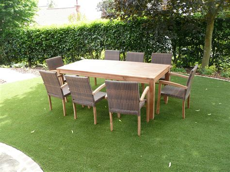 cannes  seater teak rattan patio set humber imports