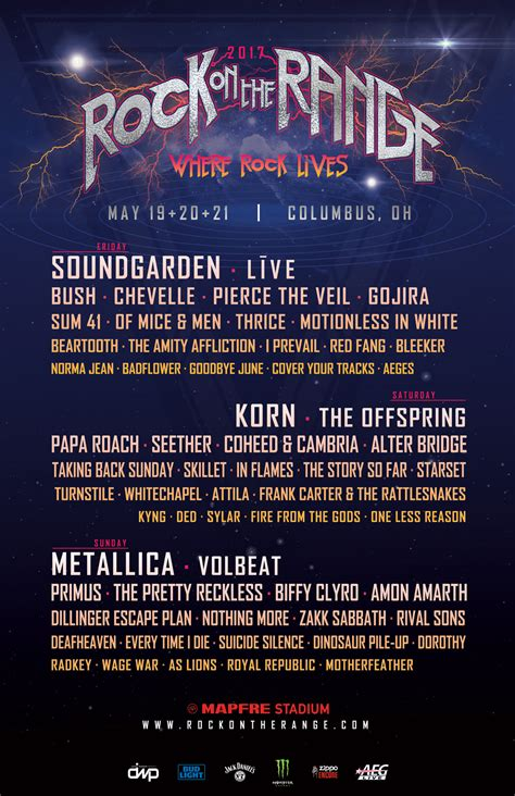 rock on the range rock on the range reveals daily band lineups danny wimmer presents