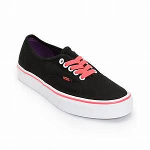 Vans Authentic Black & Neon Red Shoe at Zumiez PDP