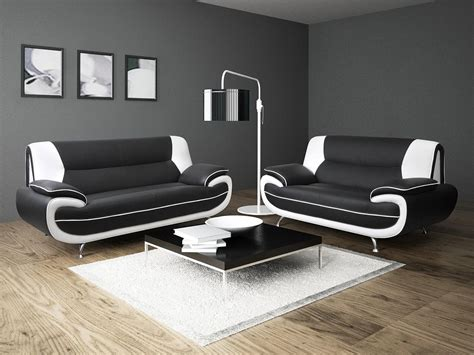2019 Latest Black And White Leather Sofas