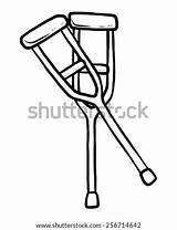 Crutches Coloring Cartoon Template sketch template