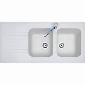 Evier a poser resine blanc bari 2 bacs avec egouttoir for Salle de bain design avec evier gres 2 bacs