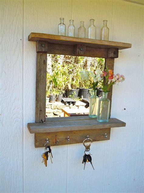 reclaimed wood rustic craftsman style mirror  shelves