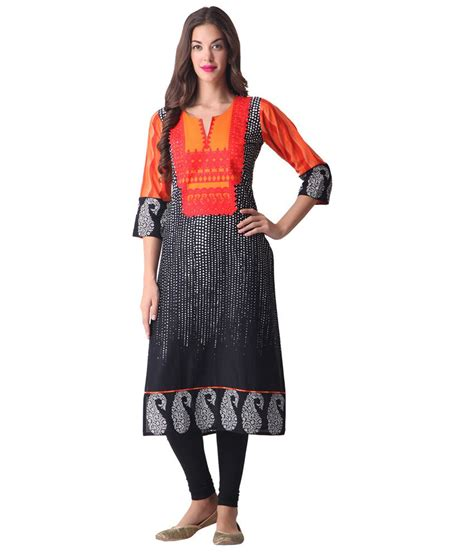 libas black printed kurta buy libas black printed kurta at best prices in india on snapdeal