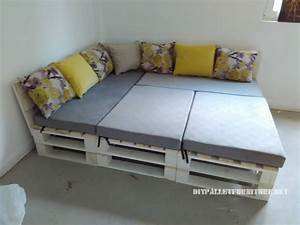 pallet sofa puff and table convertible into a beddiy With diy convertible sofa bed