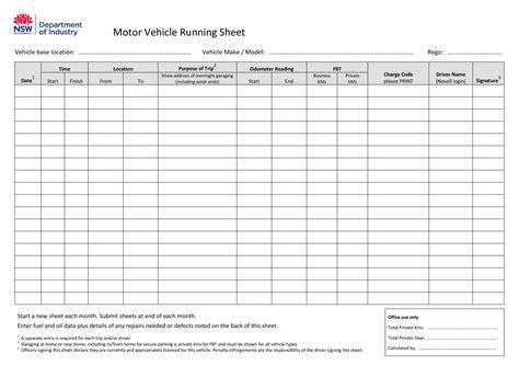 motor vehicle running sheet templates