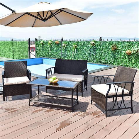 Giantex 4 Pc Garden Furniture Set Outdoor Patio Sectional