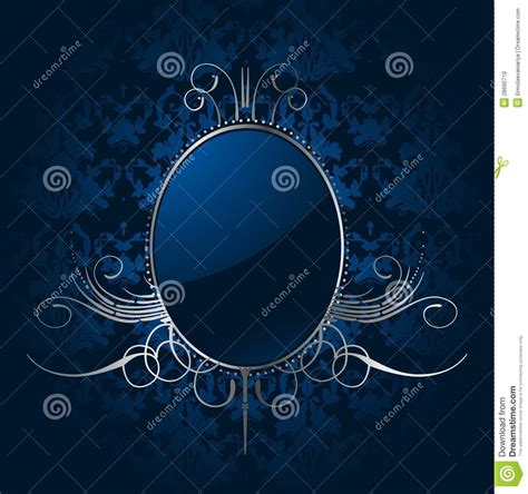 royal blue background  silver frame vector royalty
