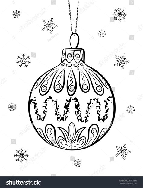 how to draw christmas balls vector sketch on white stock vector 239372899