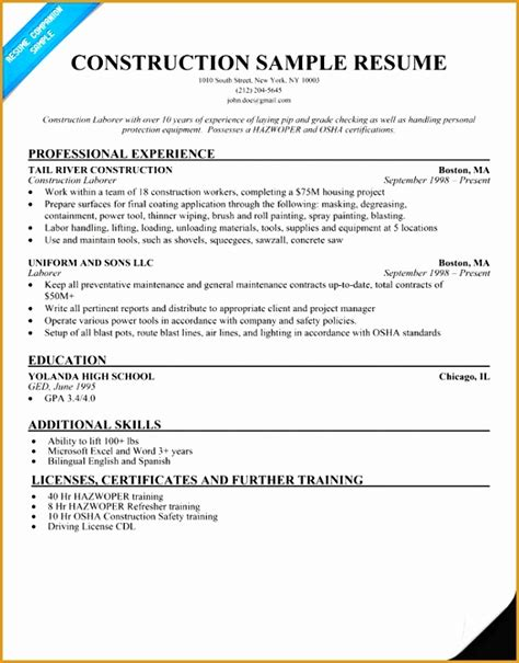5 construction laborer resume exle free sles