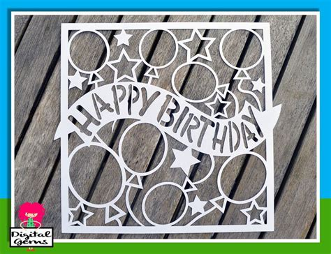 free birthday card template cricut happy birthday paper cut svg dxf eps files and pdf