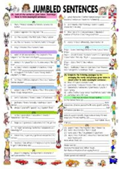 jumbled sentences with answer key esl worksheet by vikral